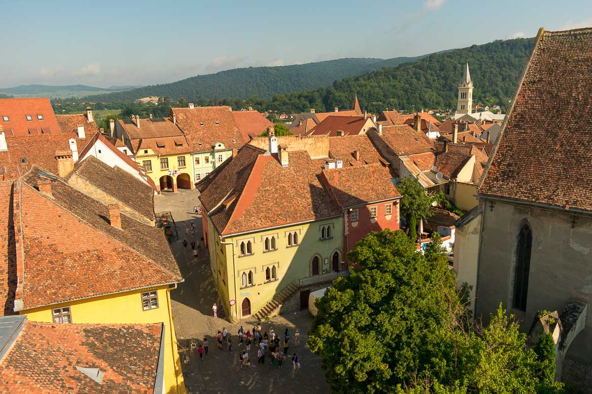 This is a photo of the Venetian House in Sighisoara Transylvania as seen from the top of the Clock Tower. What to do in Sighisoara Romania in 24 hours.