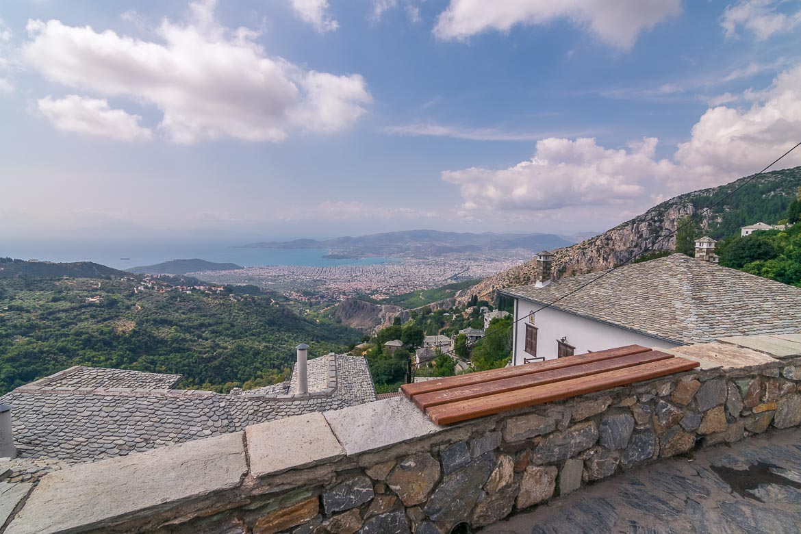 This photo was shot from Makrinitsa village. It shows the view to the city of Volos and the sea beyond.