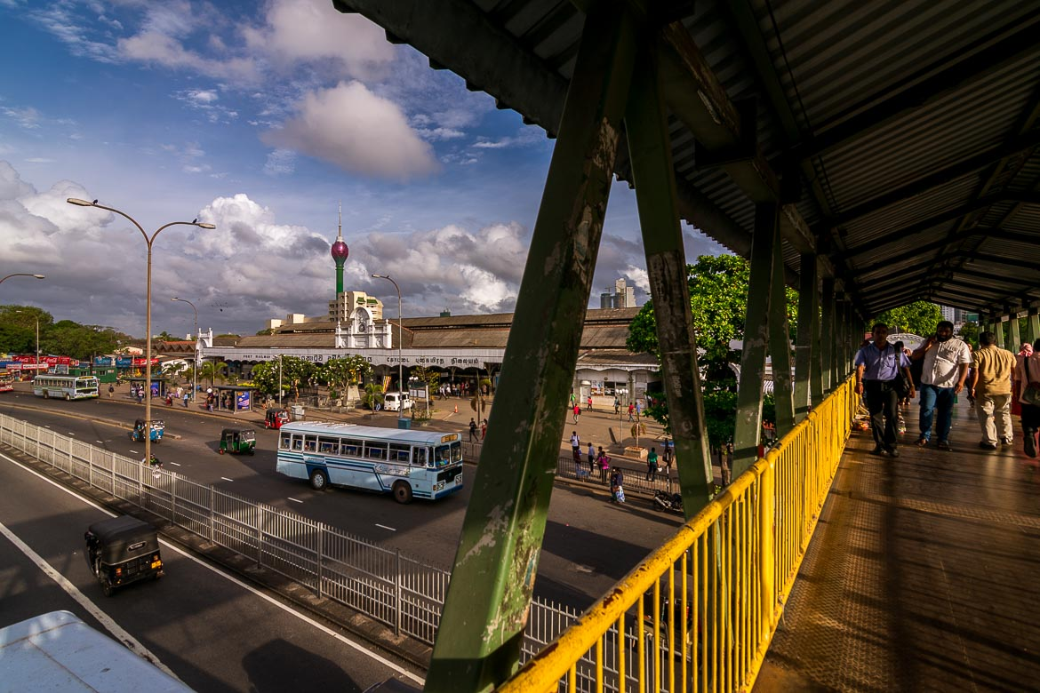 This is a panoramic view of Colombo near the city's main railway station.