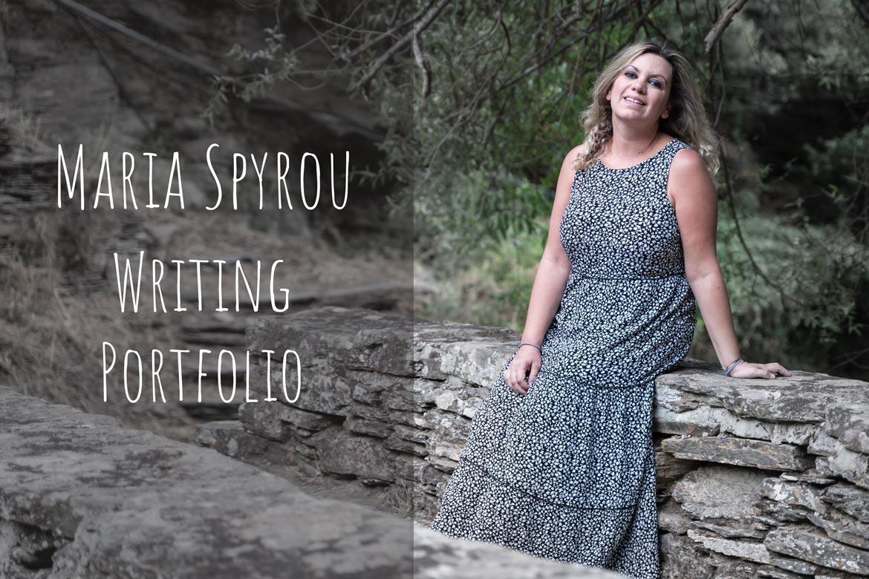 This image shows Maria leaning on a stone bridge at Episkopeio Village in Andros Greece. There's overlay text that reads: Maria Spyrou Writing Portfolio