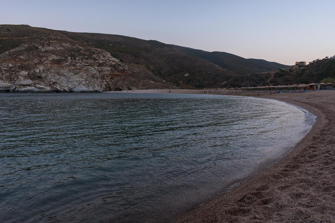 Zorgos Beach at sunset. 13 unique things to do in Andros Greece and full Andros Guide.